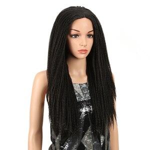 Image 3 - Magic Tóc 26 Inch Tổng Hợp Phối Ren Phía Trước Bộ Tóc Giả Cho Nữ Màu Đen Móc Dây Bện Xoắn Jumbo Oai Giả Locs Kiểu Tóc Dài tóc
