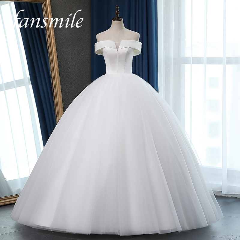 Fansmile New Satin Vestido De Noiva Elegant Wedding Dress Corset 2020 Bridal Ball Gowns Plus Size Customized FSM-048F