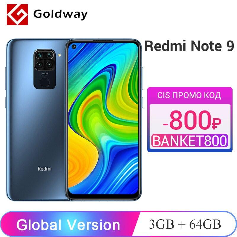 Глобальная версия Xiaomi Redmi Note 9 3 ГБ ОЗУ 64 ГБ / 4 ГБ ОЗУ 128 ГБ ПЗУ Мобильный телефон Helio G85 Восьмиядерный 48Мп Четыре камеры заднего вида 5020 мАч