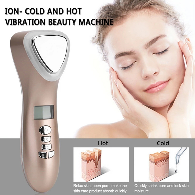 Image 3 - Ultrasonic Cryotherapy LED Hot Cold Hammer Facial Lifting Vibration Massager Face Body Spa Import Export Ion Beauty Equipment-in LED Mask from Beauty & Health