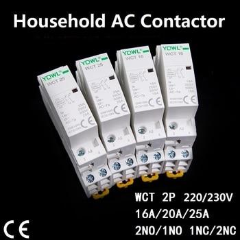 Contactor 1-25 2P 16A 20A 25A 220V/230V 50/60HZ Din Rail Contactor  ac Modular contactor 2NO 1NO1NC 2NC  Home contact module  CT 2p 32a 40a 63a 220v 230v 50 60hz din rail household ac contactor 2nc