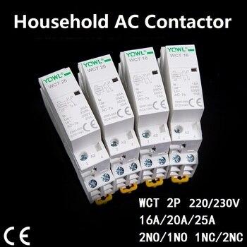 цена на Contactor 1-25 2P 16A 20A 25A 220V/230V 50/60HZ Din Rail Contactor  ac Modular contactor 2NO 1NO1NC 2NC  Home contact module  CT