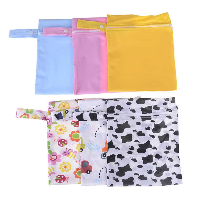 Mini tamaño impermeable reutilizable 20x25cm bolsa de pañales bolsa húmeda bolsillo impreso bolsas de pañales PUL viaje bolsas húmedas secas