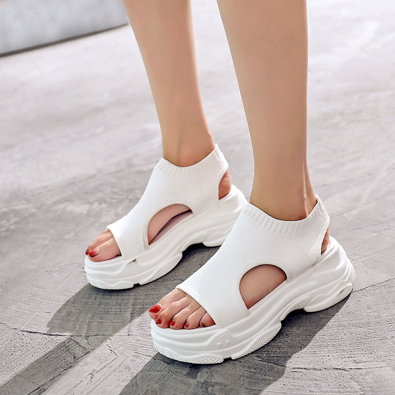 Ankle Strap Open Toe   Breathable Sports Sandals  High  Casual Summer Women Sandals Novelty Fashion Thick Platform Beach Shoes