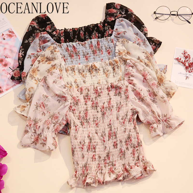 OCEANLOVE 2020 Sexy Off Shoulder Chiffon Blouses Casual Retro Print Floral Women Tops Summer Short Sleeve Ropa Mujer 13898