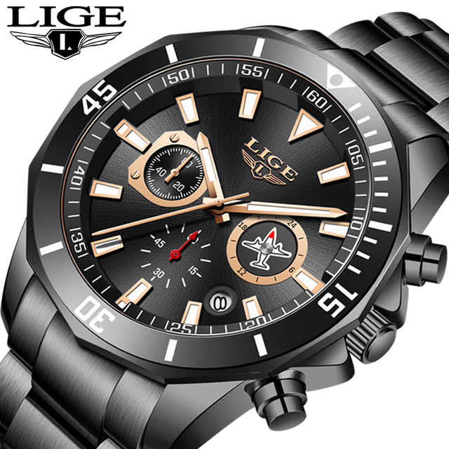 LIGE New Waterproof Men's Watches Top Brand Luxury Watch Men All Steel Big Dial Calendar Sport Wristwatch Male Chronograph+Box 1