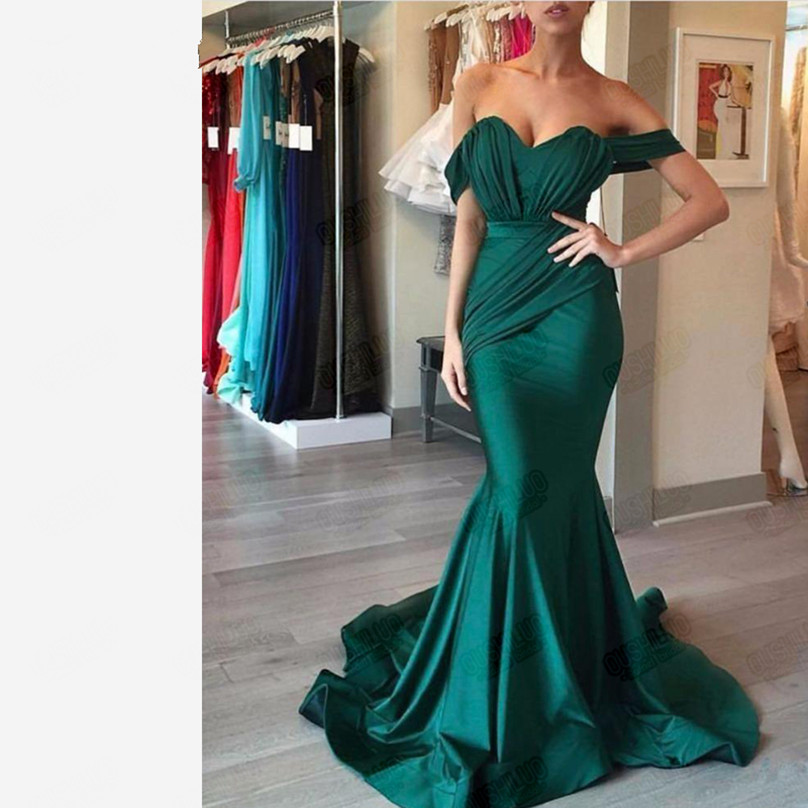 Arabic Emerald Green Mermaid Long Formal Evening Dress For Latin Women Off The Shoulder Party Prom Dresses Wear Robe De Soirée