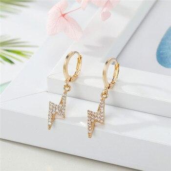 Pendientes de aro de Cruz para mujer, 1 par, brillantes diamantes de imitación, colgante de estrella hueco de circonita de Color dorado, pendientes pequeños