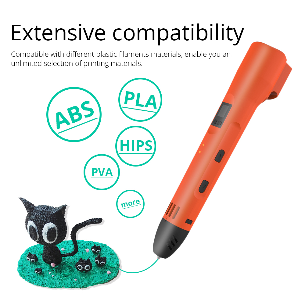 3D Printing Pen LCD Screen Adjustable Heating Temperature 8-Speeds Setting Compatible ABS Filament 6