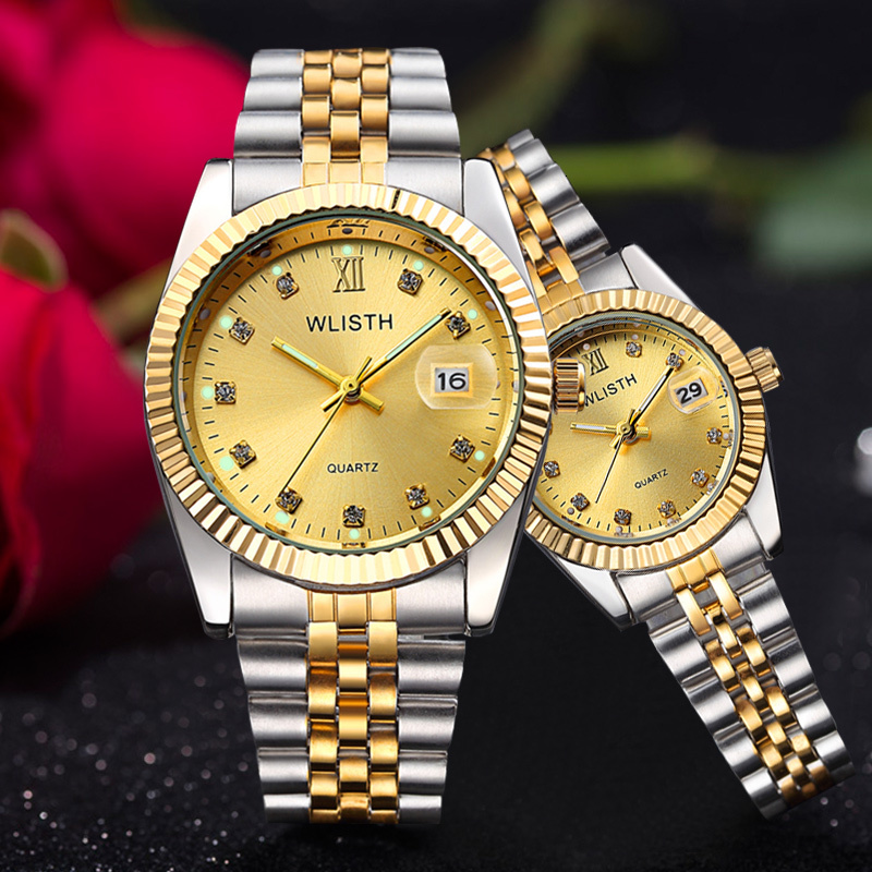 WLISTH Watch Women Top Brand Luxury Gold Watch Couple Watch Stainless Steel Watch Men Watches Auto Date Waterproof Zegarek Meski