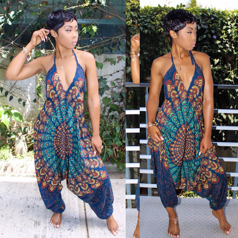 Perspective style halter summer print jumpsuit women backless beach style sexy long romper fashion women wide leg pants DB9097 1