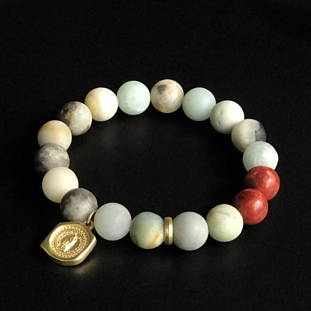 Bransoletki dla kobiet bransoletka mężczyźni serce wisiorek 10mm koraliki bransoletka z kamienia naturalnego bransoletki dla par homme gold 2019 men stone