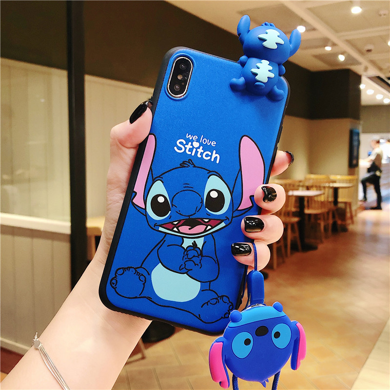 Cartoon Stitch Couple Phone Case For Huawei P40 Lite P40 PRO Lanyard Cover For Huawei P40 Plus P 40 Soft Back Case