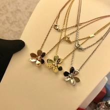 925-Sterling-Silver Jewelry Neckalce Flower-Pendant Clover Brand Wedding Women Pure Party