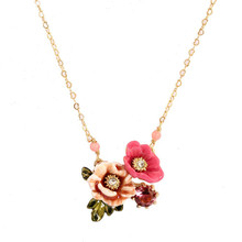 Winter garden series two-tone enamel flower zircon gold-plated necklace choker short clavicle chain necklace women