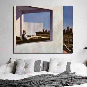 Офис Эдварда Хоппера в маленьком городе, Картина на холсте, постер с принтом, Мраморная настенная живопись, декоративная картина, Современн...