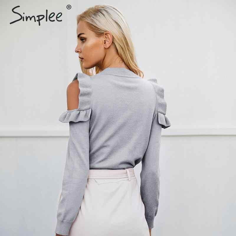 Simplee Elegan Bahu Dingin Rajutan Sweater Wanita Jumper Kasual Lengan Panjang Sweter Wanita Musim Gugur Musim Dingin Wanita Pullover 2018
