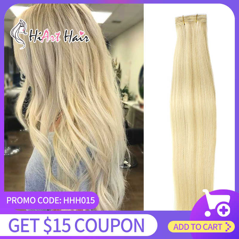 HiArt 100g Weft Hair Extensions In Human Remy Hair Salon Super Double Drawn Hair Weft 2020 Hairstyle Straight Ombre Color