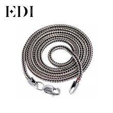 EDI خمر ريترو 925 فضة قلادة طويلة النساء والرجال مجوهرات 2 مللي متر التعاقد البوهيمي سلسلة بيجو