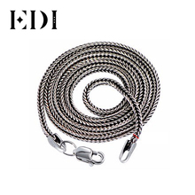 EDI Vintage Retro 925 Sterling Silver Long Necklace Women and Men Jewelry 2mm Contracted Bohemian Chain Bijoux