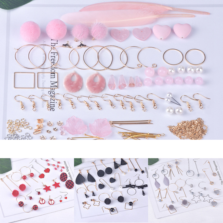 10 Pairs Handmade DIY Earrings Ear Clip Material Kits Tassel Pearl Earrings Jewelry Accessories Ladies Ear Clip Raw Material Toy