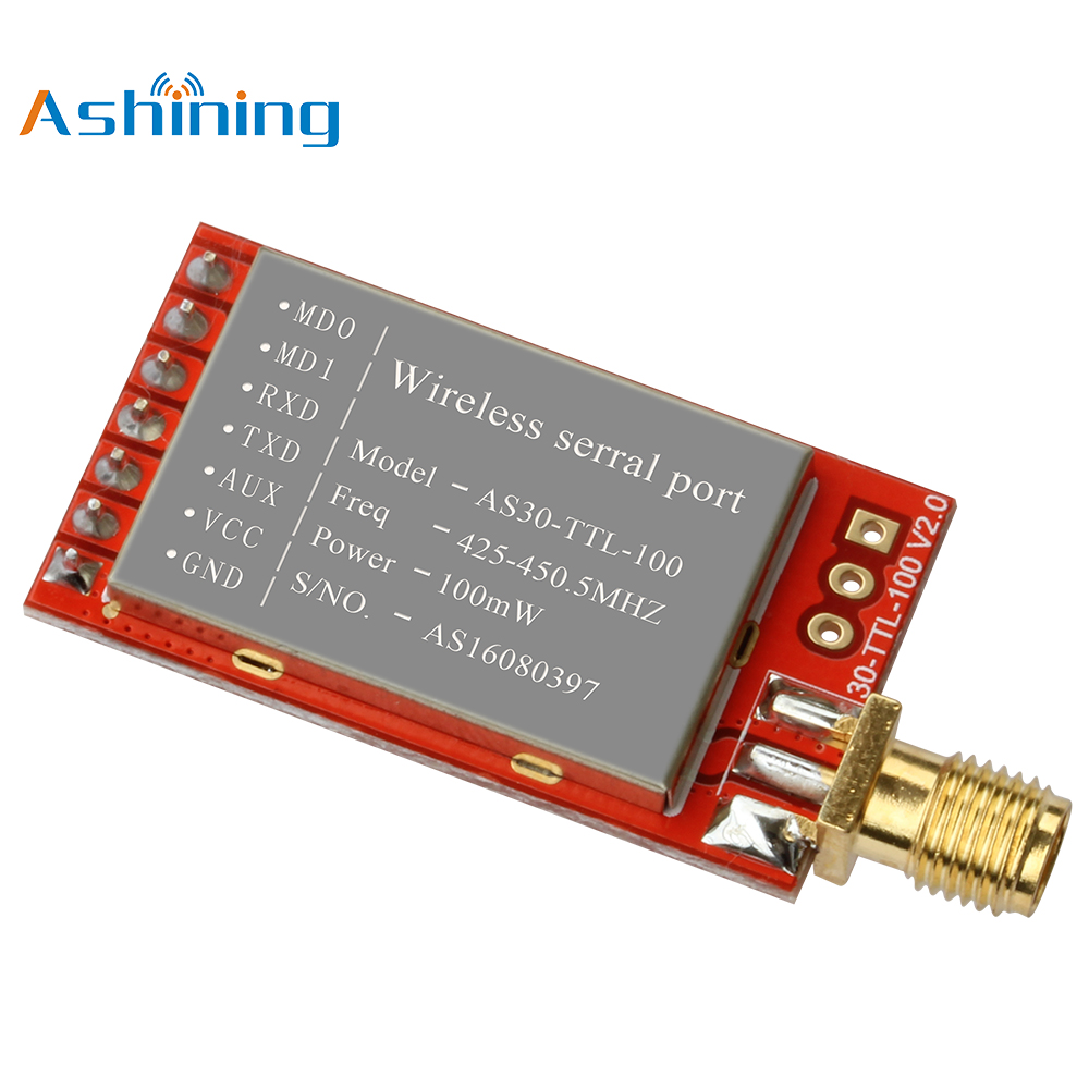 UART Wireless Serial Port Module AS30-TTL-100 Data Encryption Point-to-Point Transmission 433MHz 100mW