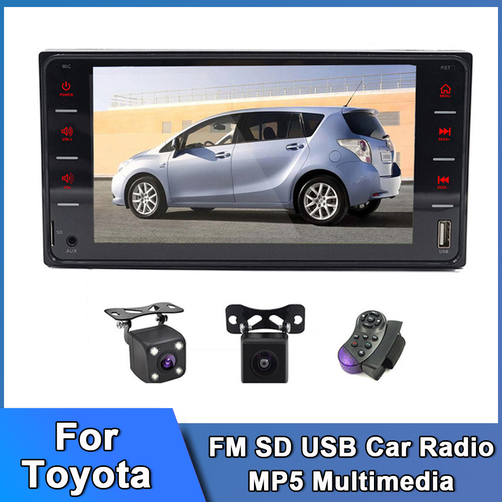 2 Din FM SD USB Car Radio HD Touch Screen Stereo Camera 12V Power Auto MP5 Multimedia Video Player Android Car Radio for Toyota image