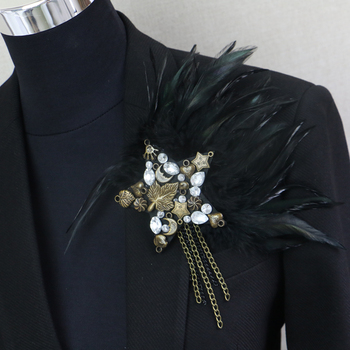 Handmade Neck Tie Feather Diamond Corsage Korea New Host Corsage Stage Performance Men's Corsage Skinny Tie фото
