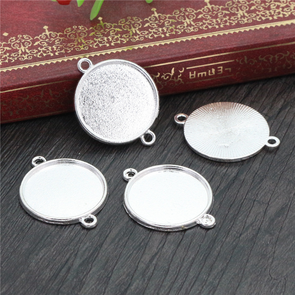 10pcs 20mm Inner Size Silver Plated Classic Style Cabochon Base Setting Charms Pendant (D2-77)