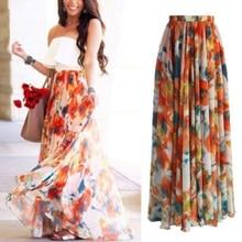 Summer Women Elegant Print Skirts Elastic Waist Long Skirts Good-looking Sundress Polyester Comfortable Maxi Skirts Fashion