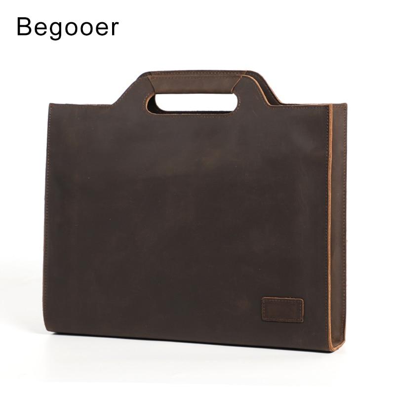 Vintage Briefcase Men's Handbag Crazy Horse Genuine Leather Men Bag A4 Magazine File Holder Men Office Work Bag Shoulder Bags