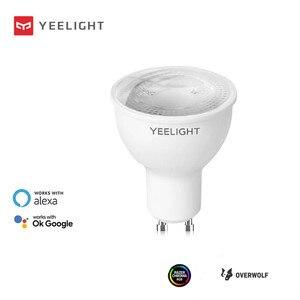 Image 1 - Yeelight لمبة إضاءة LED متصلة YLDP004 ، 200 240V ، 4.8W ، GU10 ، 2700K ، إصدار خافت ، يعمل مع مساعد Google alexa Razer Chroma