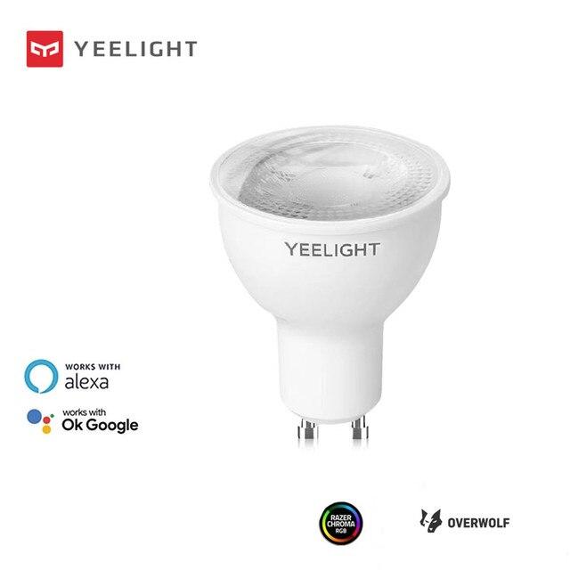 Yeelight لمبة إضاءة LED متصلة YLDP004 ، 200 240V ، 4.8W ، GU10 ، 2700K ، إصدار خافت ، يعمل مع مساعد Google alexa Razer Chroma