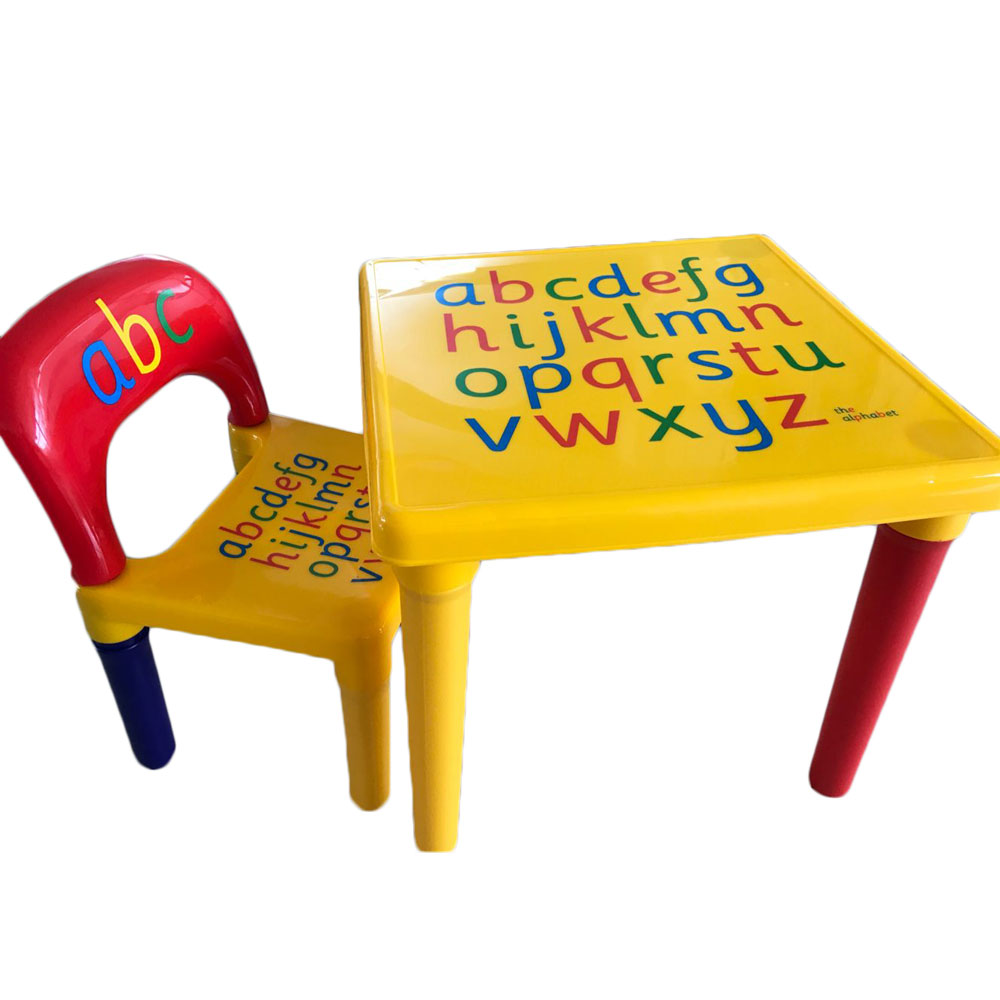 Chair Set For KidChildren Furniture Sets and ABC Alphabet Plastic Table Dinner Picnic Desk Seat Furniture (4)