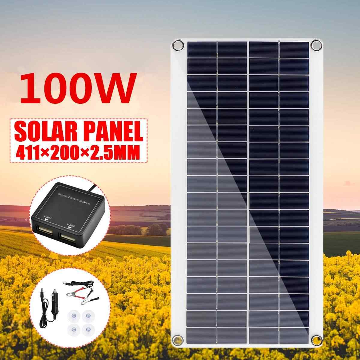 100w Dc 18v Solar Panel Battery Charger Portable Solar Cell Board Crocodile Clips Car Charger For Phone Rv Car 411x200x2 5mm Aliexpress