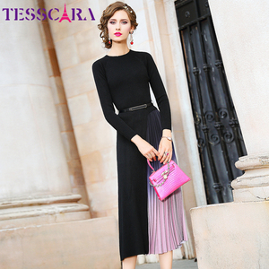 Image 3 - TESSCARA suéter elegante para mujer, vestido de otoño e invierno, de diseñador, para cóctel, plisado, largo, de alta calidad, para oficina y fiesta