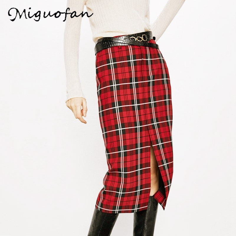 Women Skirts College Chic Winter Fashion Skirt Straight High Waist Vintage Faldas Mujer Moda Casual Preppy Style Plaid Skirts