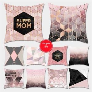 Funda de almohada de flores de poliéster 45x45cm, funda de cojín rosa, fundas para almohadas de sofá decorativas para fiestas 1 unidad