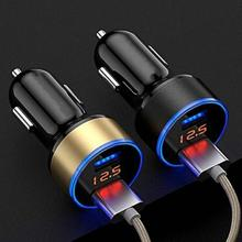 USB QC 3 0 Adapter Car Charger Dual Usb Digital Display Car Charger Mobile Phone Fast Charge Charger Lighter LED Voltmeter cheap 5 9cm usb car charger Cigarette Socket Lighter flame retardant ABS + plastic 2019 3 3cm Fast charger car usb charger car charger for xiaomi iphone samsung etc smartphone