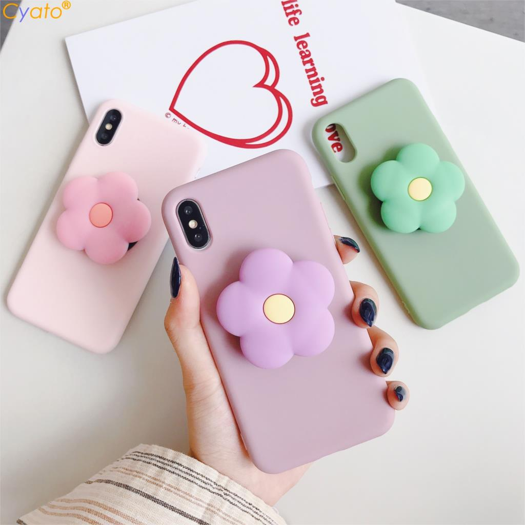 Cute flower Cartoon Soft phone <font><b>case</b></font> for iphone X XR XS 11 Pro Max 6 7 8 plus Holder cover for samsung S8 S9 S10 A50 <font><b>Note</b></font> 8 <font><b>9</b></font> 10 image
