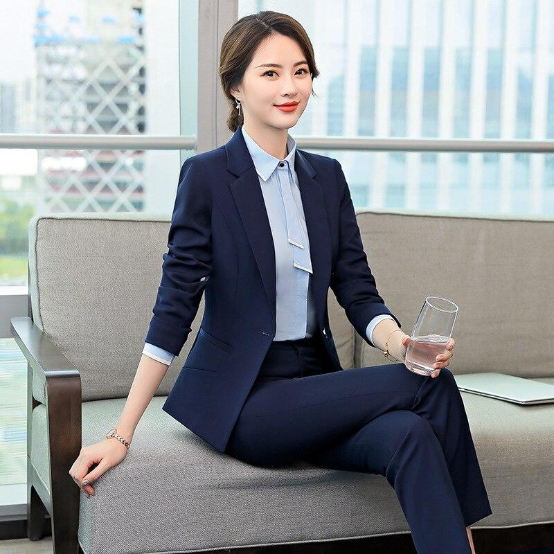 Fashion ladies suit professional wear women's suit Winter Slim Large Size Blazer Female office pants set high quality Two-piece