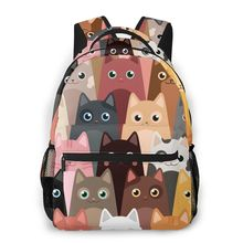 цены Cartoon Cute Cats Pattern Backpack School Bags Casual for Teenager Girls Shoulder Bag Travel Bags