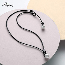 HIYONG White 1/one Natural Cultured Freshwater Pearl Choker Necklace Handmade Genuine Leather Cord Hawaii Jewelry for Women Girl