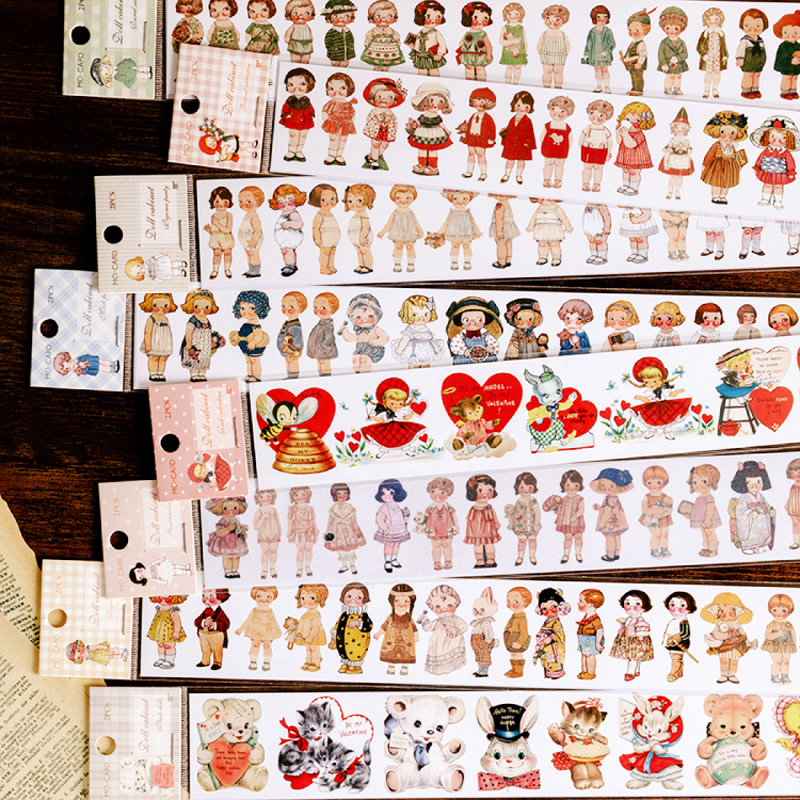 Retro Characters Doll Collection Cabinet Series Washi Masking Tape Stickers Scrapbooking Stationery Decorative Long Strip Tape