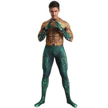 цена Aquaman Costume Cosplay For Adult Children DC Superhero Costume Halloween Costume For Men Kids Carnival Party Gold Bodysuit онлайн в 2017 году