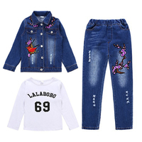 Children Jeans Sets Girl Denim Clothing Suits Spring/Autumn Girls Casual Beading Denim Two piece Kids Embroidered Jacket Pants S