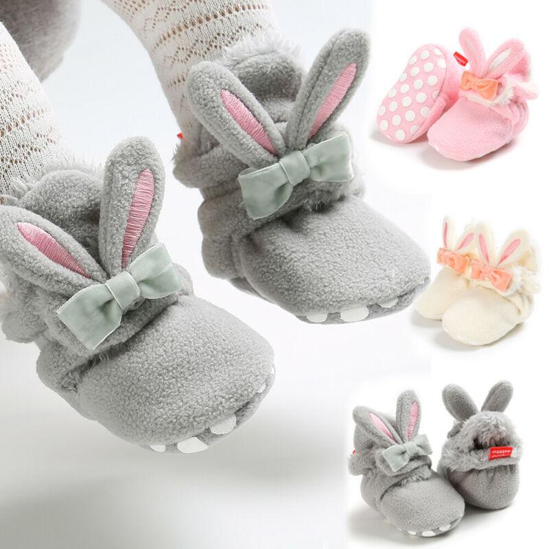 Infant Baby Girls Boys Soft Crib Prewalker Winter Warm Rabbit Ears Snow Shoes Booties Non-slip Crib Shoes Boys Girl Booties
