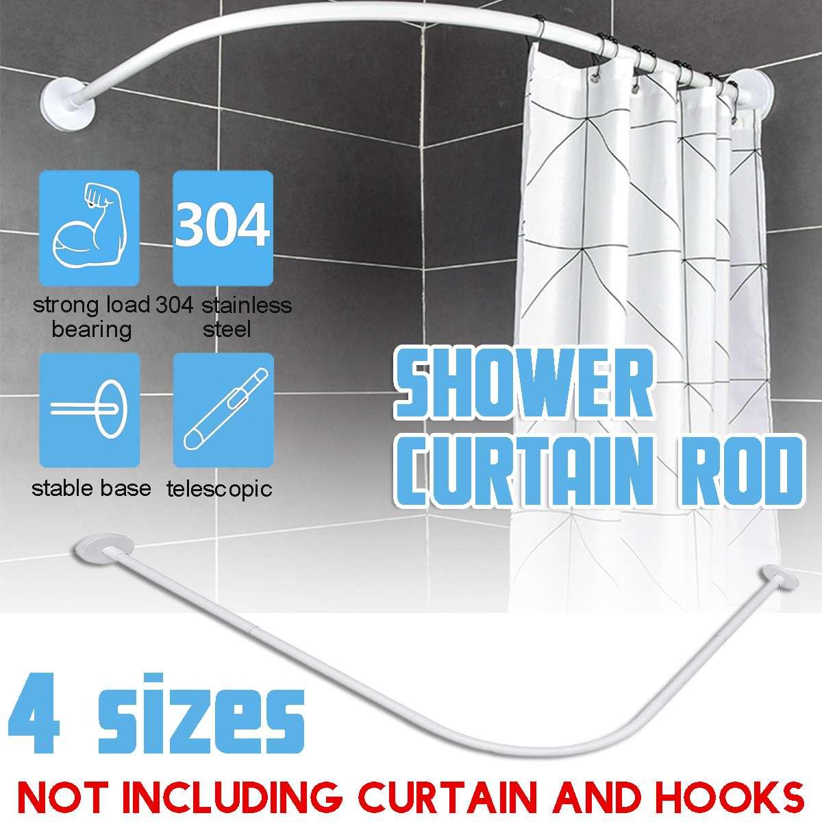 304 Stainless Steel Extendable Corner Shower Curtain Rod Pole L Shape No Punching Rail Rod Bar Bathroom Hardware Heavy Loaded