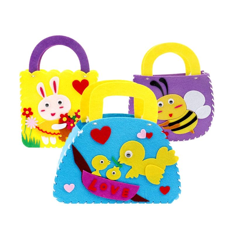 Kindergarten DIY Kids Craft Puzzles Ladies Handbag Toys Cartoon Creative Stickers Craft Handmade Bags Girl Toys Children Gifts