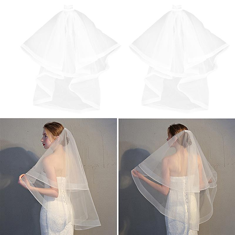 Double Layer Bridal Veil Graceful With Hair Side Comb Bridal Veil Hair Accessories Head Veil For Bride Wedding Accessories